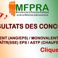 MFPRA/DGFP/DC/RÉSULTATS CONCOURS CHAUFFEURS/BIVALENT/MONOVALENT/MAITRE EPS